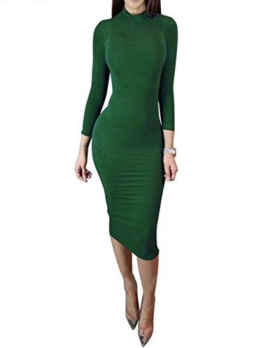 Tight Green Dress (Dora Bridal Women's Turtleneck Long Sleeve Slim Bodycon Tight Dress,Green,Small)