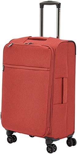 AmazonBasics Belltown Softside Rolling Spinner Suitcase Luggage - 25 Inch, Heather Red