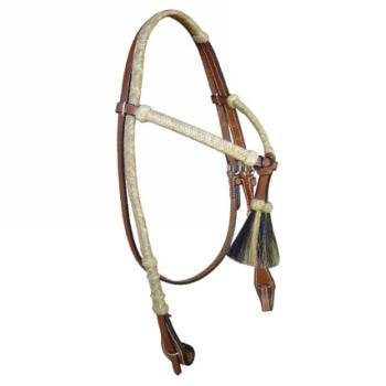 Crossover Headstall with Rawhide and Horsehair Accents
