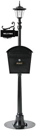 郵便ポスト スタンド型 おしゃれ 屋外用 自立 スタンドタイプ 置き型ポスト 郵便受け 大型 鍵付き 街路灯ポスト 表札付き SI-2612