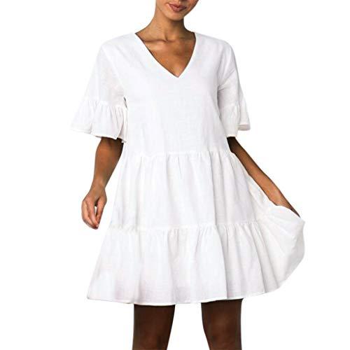 LOMONER Dress for Women Fashion Casual Solid V-Neck Short Sleeveless Mini Dress]()