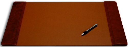 (Dacasso Mocha Leather Desk Pad with Side Rails, 22-Inch by 14-Inch)
