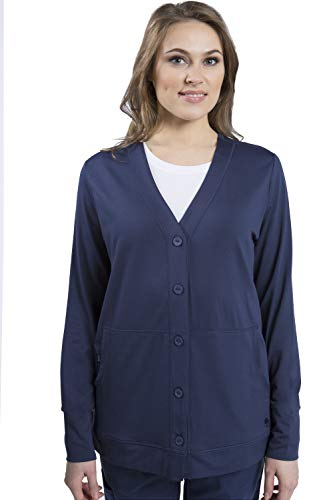 healing hands Scrubs Women's Becca V-Neck Cardigan Jacket -Navy -Small