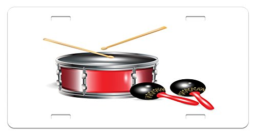- Lunarable Maracas License Plate, Drums with Sticks Cuban Rhythm Latin Carnival Festive Party Culture Print, High Gloss Aluminum Novelty Plate, 5.88 L X 11.88 W Inches, Silver Red Black
