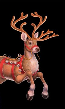"WOWindow Posters Dashing Reindeer Christmas Window Decoration 34.5""x60"" Backlit Poster"