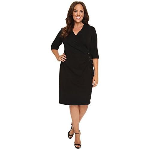 Nice Christin Michaels Women's Plus Size Jullie 3/4 Sleeve Wrap Dress hot sale