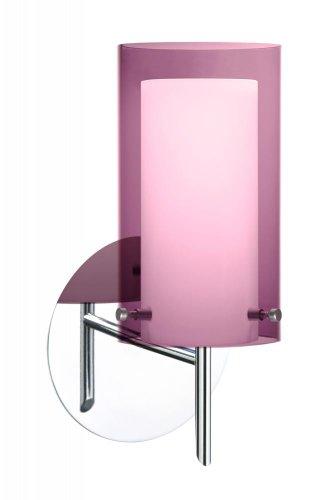 (Besa Lighting 1SW-A44007-CR 1X40W G9 Pahu 4 Wall Lighting Fixture with Transparent Amethyst/Opal Glass, Chrome Finish )