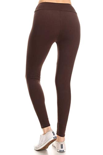 47af59a097 Leggings Depot Yoga Waist REG/Plus Women's Buttery Soft Solid Leggings  (Brown, Plus