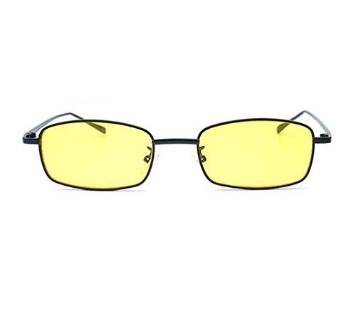 mujeres sol gafas Square para polarizadas no Hippie Classic Amarillo marco metal de Vintage Style Negro de cwSOqfYq