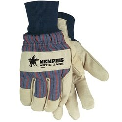 MCR Safety 1966L Grain Pigskin Leather Thermosock Lined Men's Gloves with 3-Inch Polyethylene/Thinsulate Cuff, Cream/Blue, Large, 1-Pair