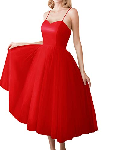 Lace Bess Midi Spaghetti Wedding Red Straps Bridal up Dress Evening Party Women's nOwrnFBTx