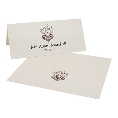 Tree of Life Heart Place Cards, Champagne, Chocolate, Set of 375 by Documents and Designs