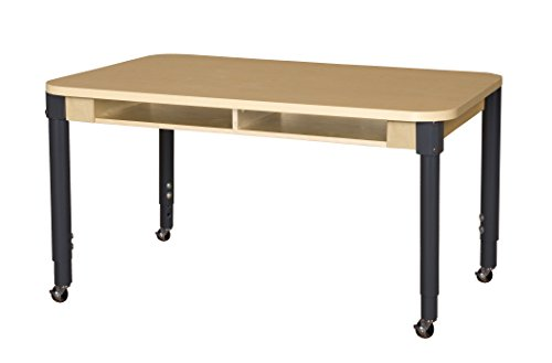 """Adjustable 2 Leg Table (Wood Designs Mobile Two-Seater High Pressure Laminate Desk with Adjustable Legs 20-31"""")"""