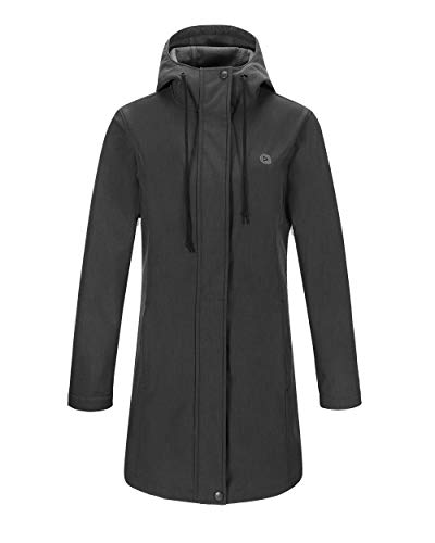 Outdoor Ventures Women's Veda Lightweight Waterproof Windbreaker Softshell Jacket Hooded Long Coat