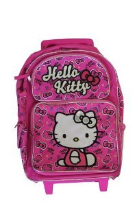 Small Size Pink Bows Hello Kitty Rolling Backpack Luggage Hello Kitty Rolling Backpacks