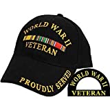 World War II Veteran Proudly Served Hat Black