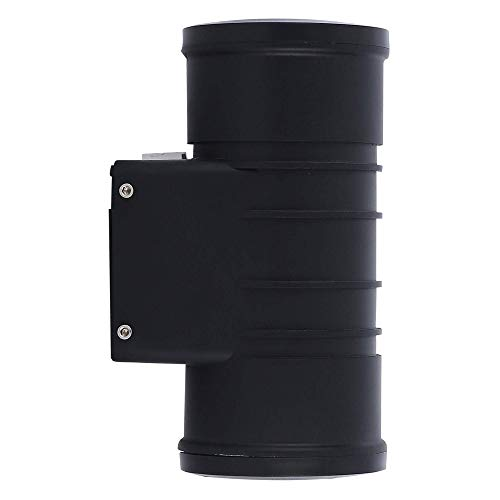 Zip-LED Up Down Cylinder Wall Light in Black Vandal Resistant Polycarbonate Plastic, 12W 4000K Natural White 1200 Lumen, Non-Dimmable, Waterproof IP65, 5 Year ()