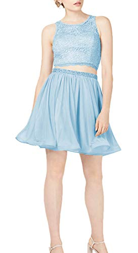 WaterDress Women's Mini Beaded 2 Piece Prom Dresses Crop Top Short Lace Homecoming Dress WD01P, Light Blue, US2