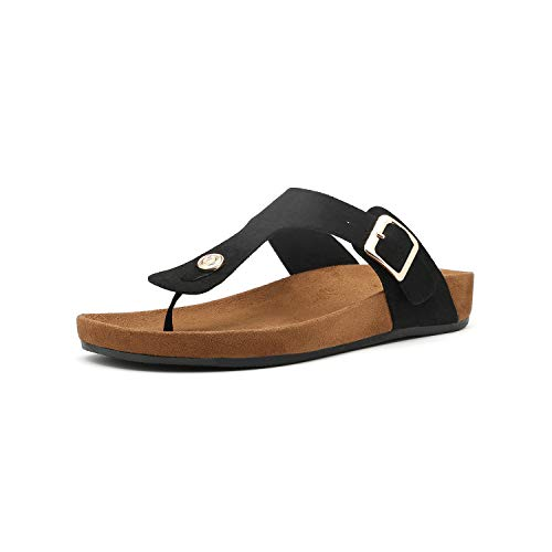 Women's T-Strap Thong Sandals Buckle Slip On Flip-Flops Beach Casual Platform Footbed Slippers (8, - Black Thong Platform