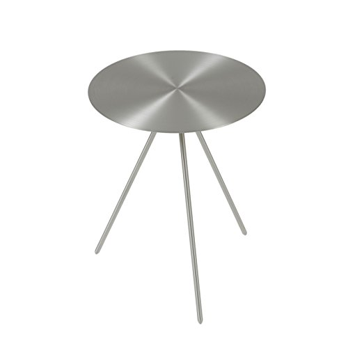 Euro Style Faith 16-inch Round Brushed Steel Side Table by Eurø Style