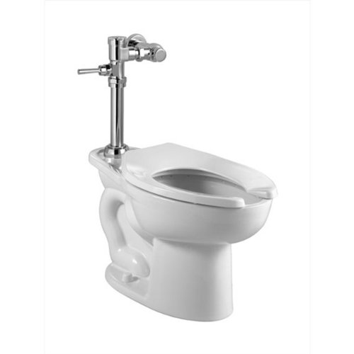 Elongated Flush Valve Toilet (American Standard 2855.128.020 Madera ADA 1.28 GPF EverClean Toilet with Manual Flush Valve, White)