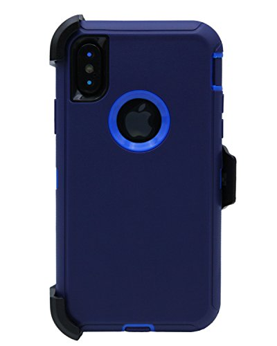WallSkiN Turtle Series Cases for iPhone Xs/iPhone X (Only) Tough Protection with Kickstand & Holster - Midnight (Navy Blue/Blue) ()