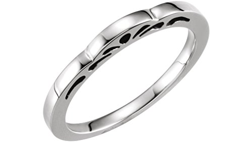 Cut-Out Paisley 3mm Stackable Rhodium-Plated 14k White Gold Ring, Size 5.5 by The Men's Jewelry Store (for HER)
