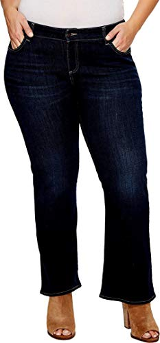 Womens Plus Size Blue/Black Denim Jeans Tall Long Petite Bootcut Straight Leg (18 Plus, Dark Blue Petite) by JEANS FOR LOVE