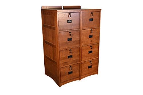 Crafters and Weavers Mission Solid Oak 4-Drawer File Cabinet with Locks - Set of 2