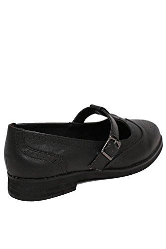 PILOT® zapatos brogue plana t-bar negro
