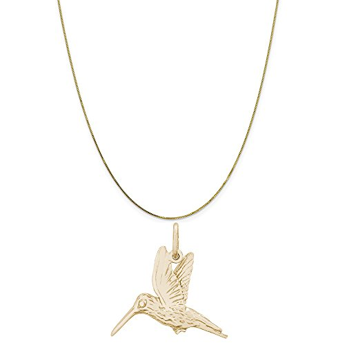 Rembrandt Charms 10K Yellow Gold Hummingbird Charm on a 10K Yellow Gold Box Chain Necklace, 20