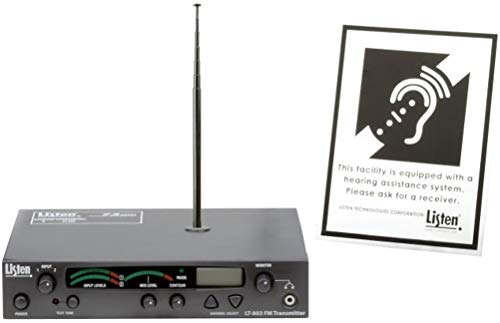 3 Source Rf Headphone Transmitter - Listen Technologies LT-803-072-P1 Stationary 3-Channel RF Transmitter Package 1 (72 MHz); Includes LT-803 Transmitter, LA-106 Antenna, and The LA-304 Signage Kit