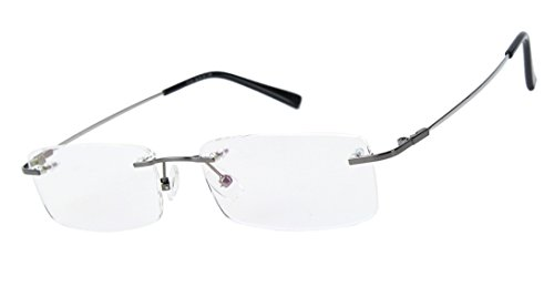Eyeglass Alloy Frame (Agstum Titanium Alloy Flexible Rimless Frame Prescription Eyeglasses (Gunmetal))