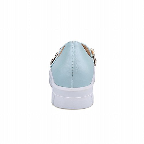 Latasa Damesmode Kettingen Instappers Loafers Schoenen Lichtblauw