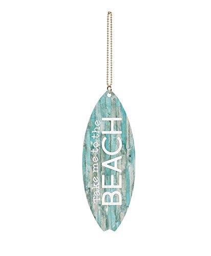 P. Graham Dunn Take Me to The Beach Teal Lath Surfboard 1.5 x 4.5 Wood Hanging Car Charm