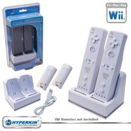 New Wii Hyperkin Dual Charger White 2 Rechargeable Nimh Battery Packs Led Charge Indicator Lights