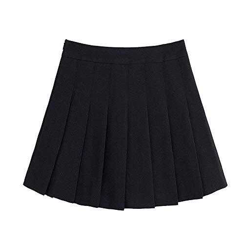 Pleated Flounce - Naughtyspring Womens Basic Fashion Solid Slim High Waist Pleated Tennis Short Skirt with Flounce (Large, Black)