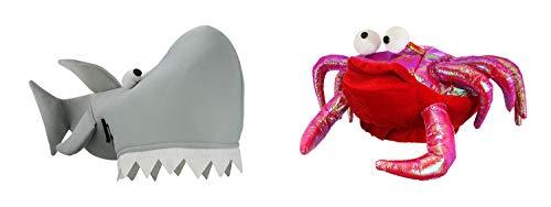 Gray Shark Red Crab Hat Plush Man Eater Jaws Ocean Costume Accessory Fish Set ()