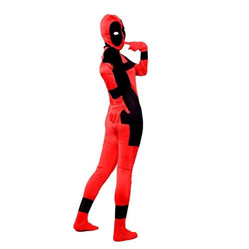 Ninja Costume Kids Halloween Black Red Samurai Assassin Boys Spandex Lycra Jumpsuit Fancy Dress Zentai Outfit (Adult Suit, L)]()