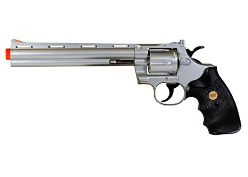 TSD/UHC Sports Model 141SR Gas Airsoft Revolver - Silver/Black w/ 8