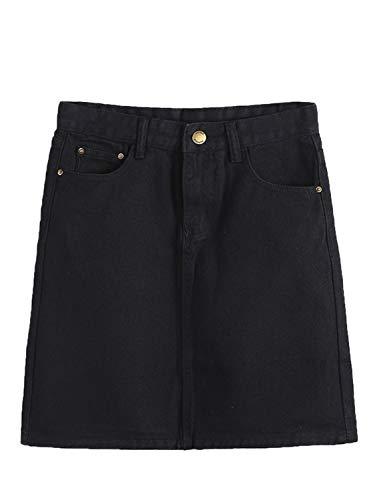 PERSUN Women's Faux Suedette Button Closure Plain A-Line Mini Skirt (Medium, Jeans-Black)