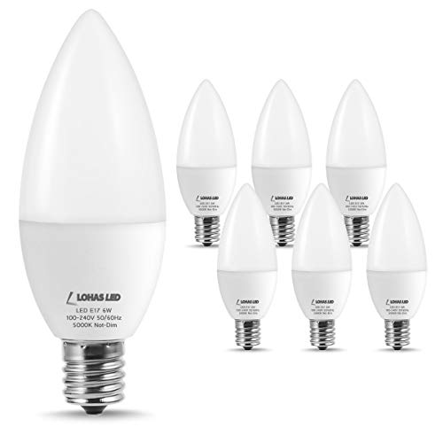 LOHAS E17 LED Bulb Daylight White 5000K, Intermediate Base E17 Candelabra Light Bulbs, 60W Equivalent(6W LED), Not Dimmable, 500 Lumen, Candle Light Chandelier Lighting(6 Pack)