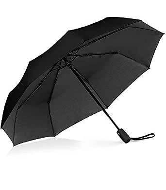 Windproof Umbrella , Gyvazla Portable Compact Travel Umbrella Compact Automatic Open Close Small Folding Teflon Repellent Canopy Umbrellas fit Golf Purse Backpack Wind Resistant for Men and Women Traveler - Black