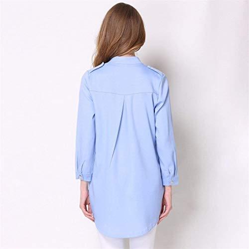 Moderno Exteriores Mujer Outerwear Anchos Larga Sólido Manga Largos Estilo Stand Prendas Abrigo Cardigan Elegante Blau De Fiesta Abrigos Color Transición Cuello HqHwxCpT