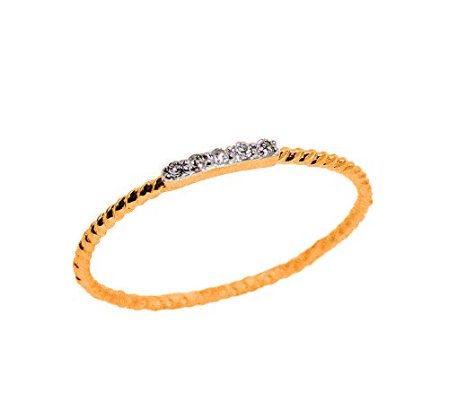 (LooptyHoops 14K Rose Gold .04 ctw Diamond Stackable Rope Band Ring Size 6.5)