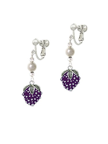 Pearls Grape Bunches Earrings (Grapes Imitation Pearl Czech Glass Bead Clip On)