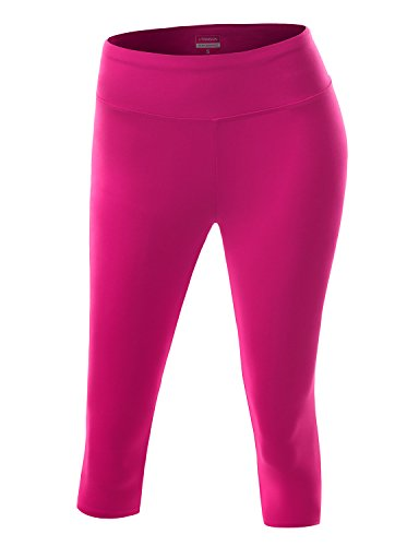 NINEXIS Womens Active Workout Athletic Running Yoga Capri Leggings Hotpink XL