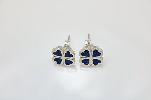 Four-leaf Lapis Lazuli Micro Mosaic Sterling Silver Clover Stud Earrings, Semi Precious Gemstone by Handmade Studio - Lapis Lazuli Tiles