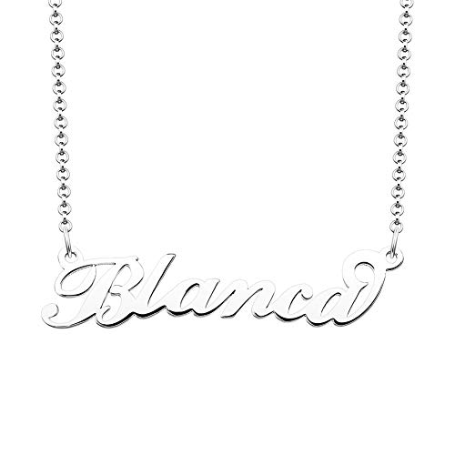 (JewelryJo 925 Sterling Silver Personal Name Necklace Semi-Custom Made Customized Personalized Gift for Blanca)