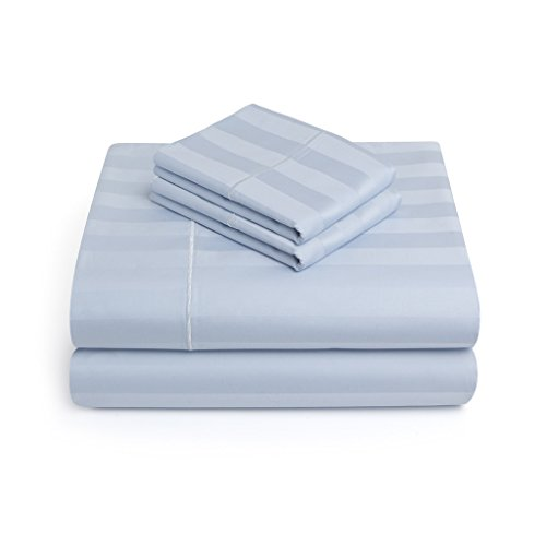 Vivendi Luxury 100% Pima Cotton 500 Thread Count Damask Stripe Sheet Set, Sky Blue, Queen (Premiere Product Mattress Set)